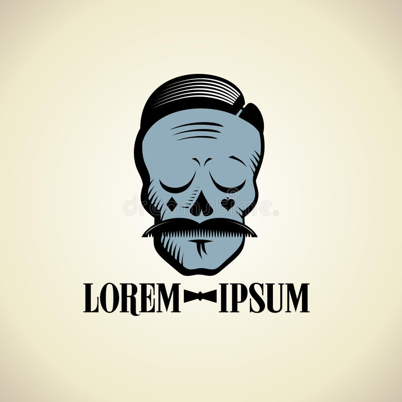 Art skull graphic portrait with hipster hairstyle, moustache and card suits on cheeks. vector illustration