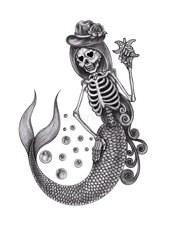 Free Art Skull Mermaid. Royalty Free Stock Images - 101320839