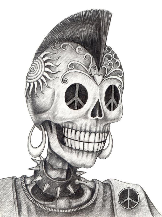 art skull punk tattoo stock illustration image 58019139. Black Bedroom Furniture Sets. Home Design Ideas