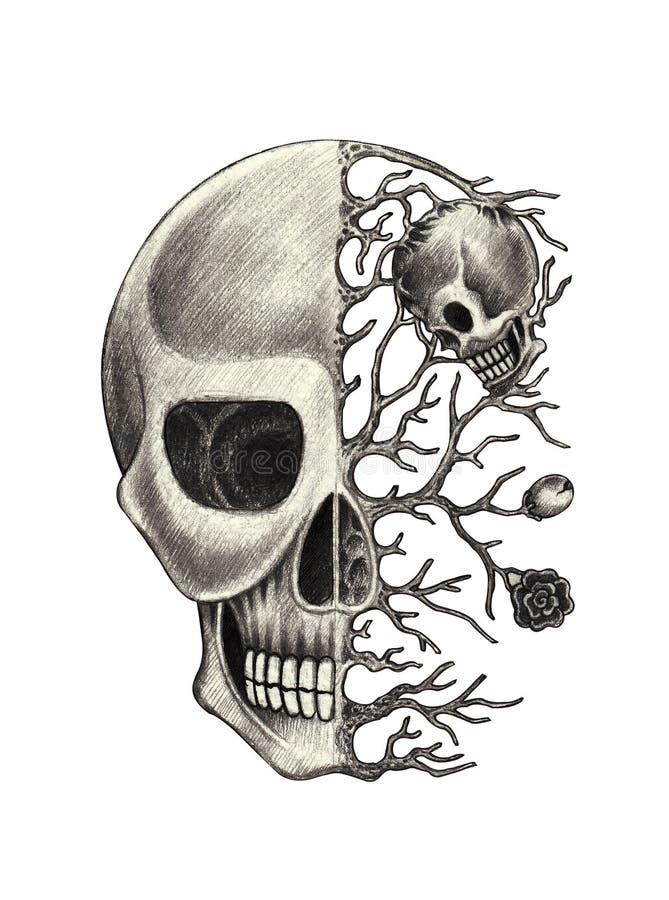 Art skull surreal. Art design skull surreal fantasy hand pencil drawing on paper stock illustration