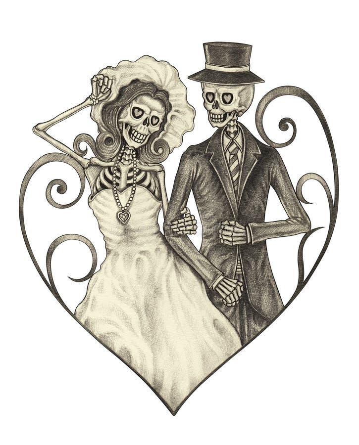 Art skull wedding day of the dead. royalty free illustration