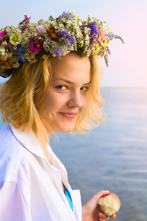 Art smiling beautiful young woman flower wreath royalty free stock photos