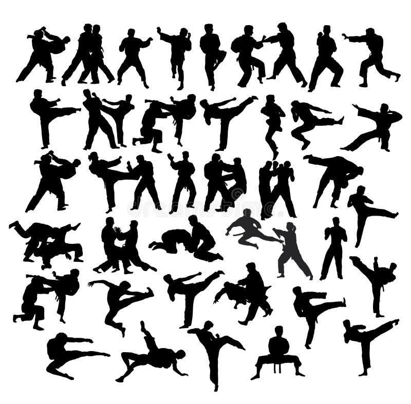 Art Sport Silhouettes marziale, progettazione di vettore di arte royalty illustrazione gratis