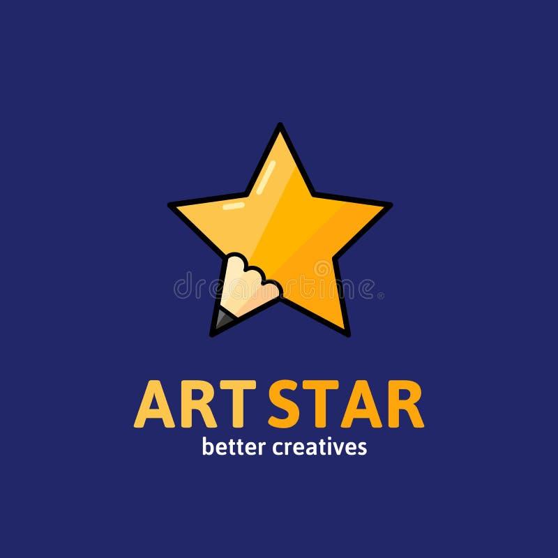 Art Star Abstract Vector Sign, emblema o Logo Template Símbolo creativo del concepto del lápiz con tipografía stock de ilustración
