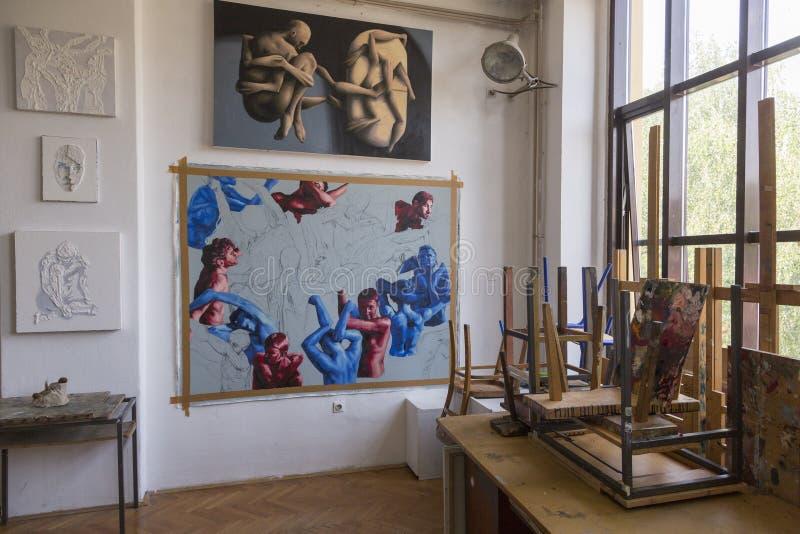 Art students graduation works. Art students of Croatian Academy of arts in Zagreb graduation works exhibition stock photos