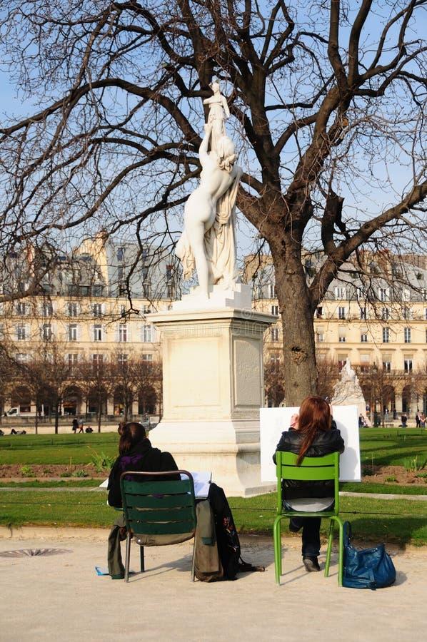 Art students in the Tuileries Gardens, Paris stock photo