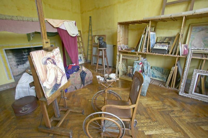 Art Studio de Auguste Renoir em sua casa, Les Colettes, Musee Renoir, Cagnes-sur-Mer, França imagem de stock royalty free