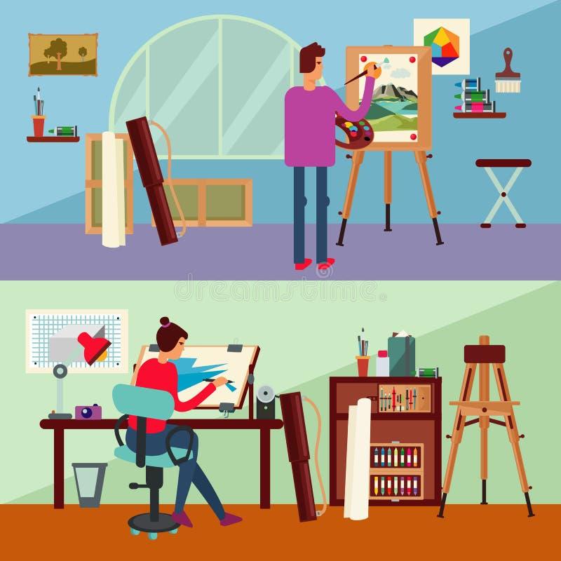 Art Studio Horizontal Banners vektor illustrationer