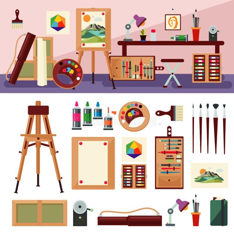 Art Studio Interior Design Concept stock illustration