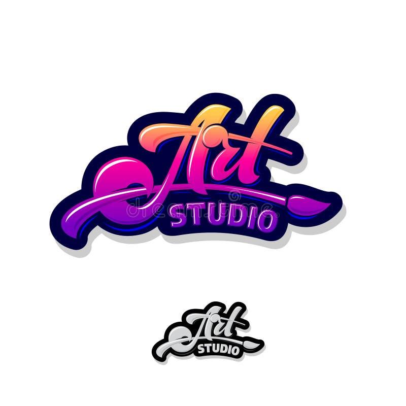 Art Studio Logo Emblema artístico da escola typography Letras bonitas e uma escova ilustração royalty free