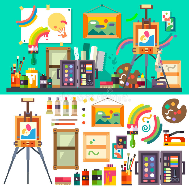 Art studio, tools for creativity and design royalty free illustration