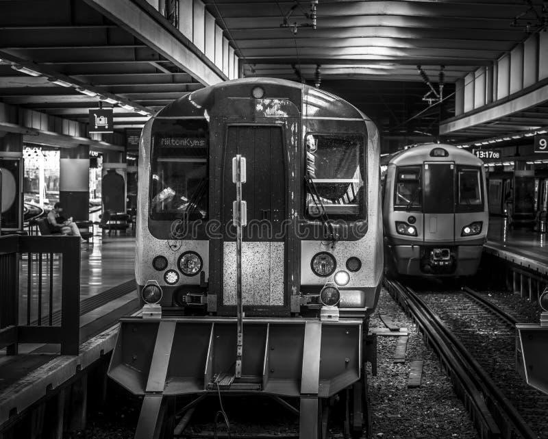 Art style photo of London Euston train station. Gritty art style photo of London Euston train station in black and white stock photo