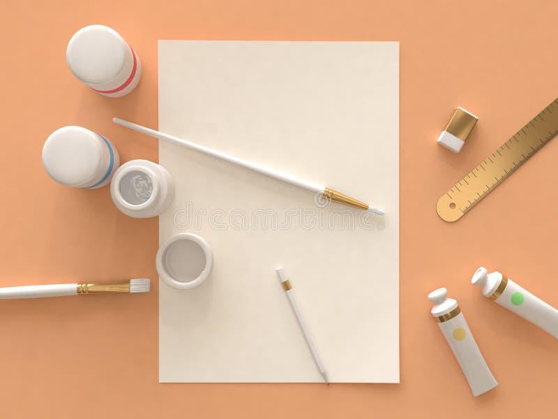 Art supplies orange floor top view 3d render stock illustration
