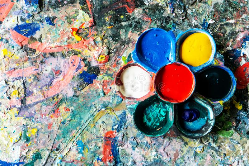 Art supplies paints for painting and drawing royalty free stock image