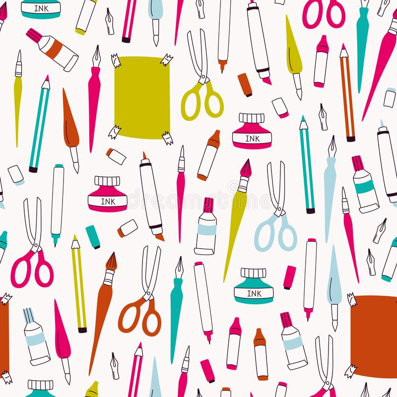 Art Supplies Seamless Pattern Elementos del garabato del vector para dibujar stock de ilustración