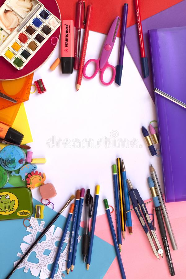 Art supplies on table royalty free stock images