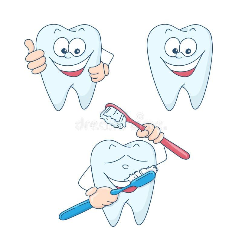 Art sur le sujet de l'art dentaire d'enfants Dents saines et belles de bande dessinée mignonne illustration de vecteur