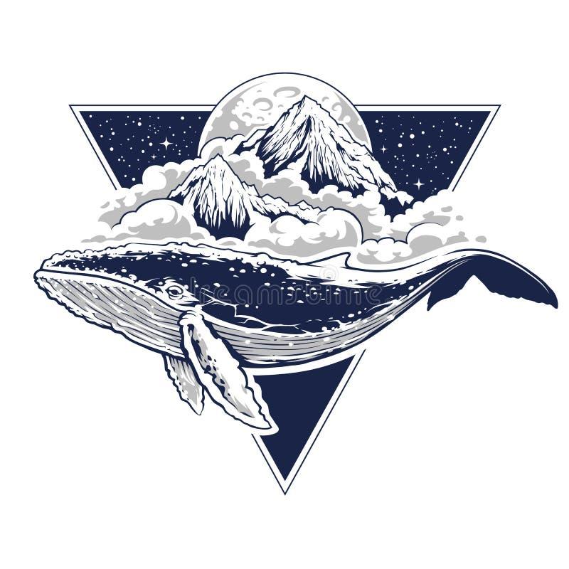 Art surréaliste de vecteur de baleine illustration libre de droits