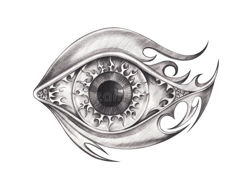 Art Surreal Eye Tattoo stock illustrationer