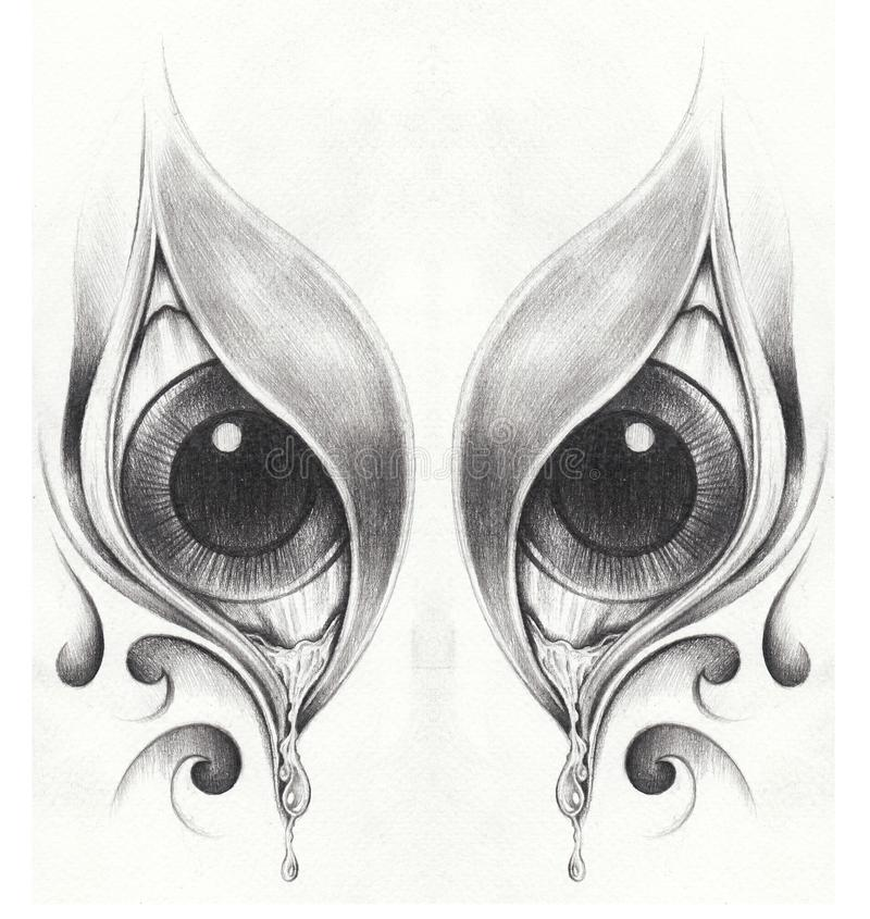 Art Surreal Eyes Tattoo illustration stock