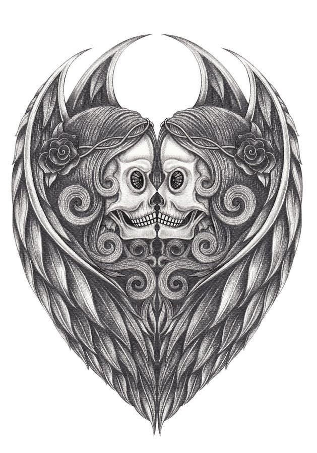Art Surreal Heart Angel voa o crânio ilustração do vetor