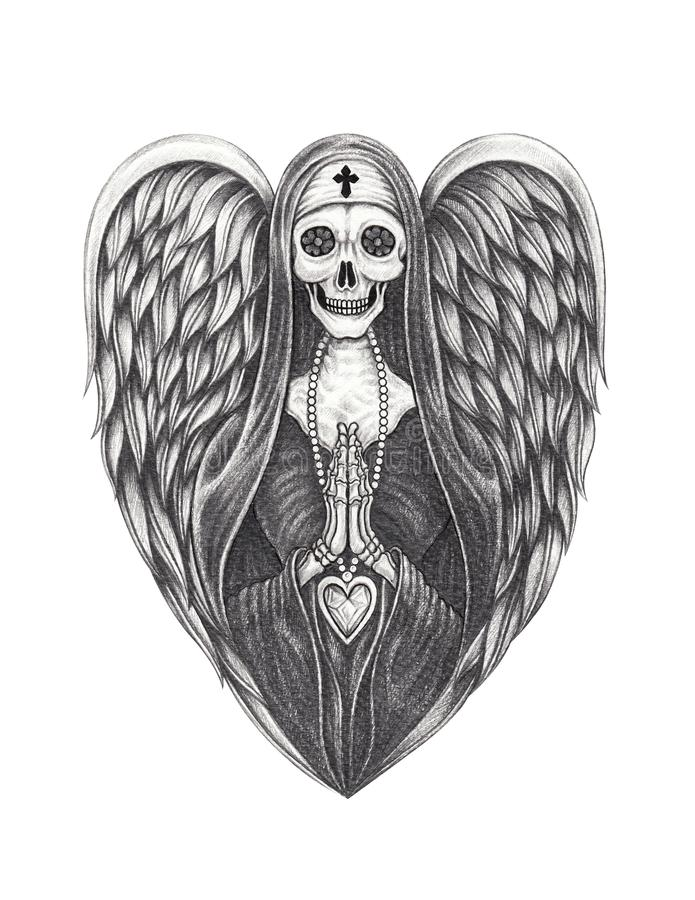 Art Surreal Nun Angle Skull illustration libre de droits