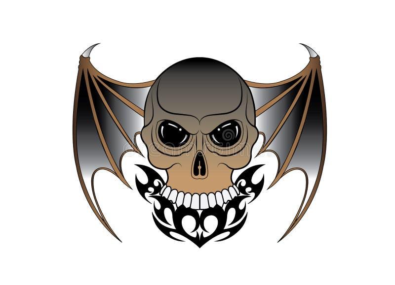 Art Surreal Wings Devil Skull-T?towierung lizenzfreie abbildung