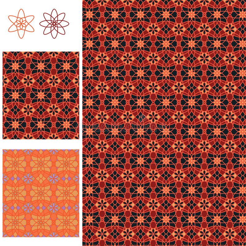 Art-Symmetrie des Batiks 8 der Blume 6 der roten orange nahtloses Muster lizenzfreie abbildung