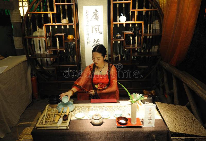 The Art Of Tea in Chinese Tang Dynasty stock images