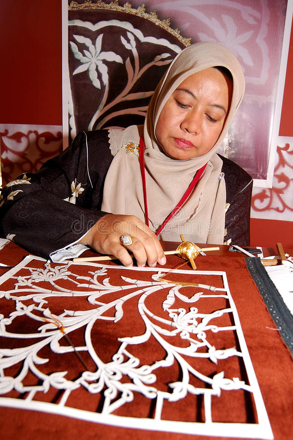 Download The Art Of Tekad Or Known As Embroidery Editorial Stock Photo - Image of kangsar, embroidery: 26537968