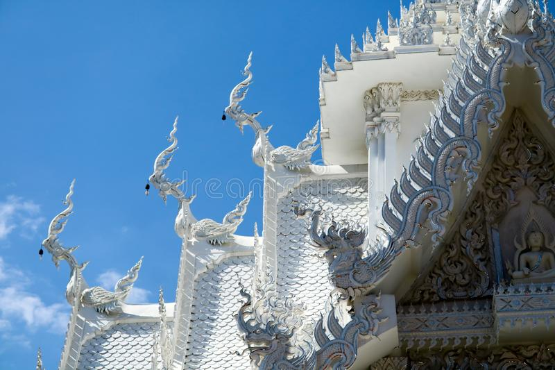 The art of Thai culture, stucco, Naga decorated by the roof of t. He church and stairs of the Buddhist temple stock photography