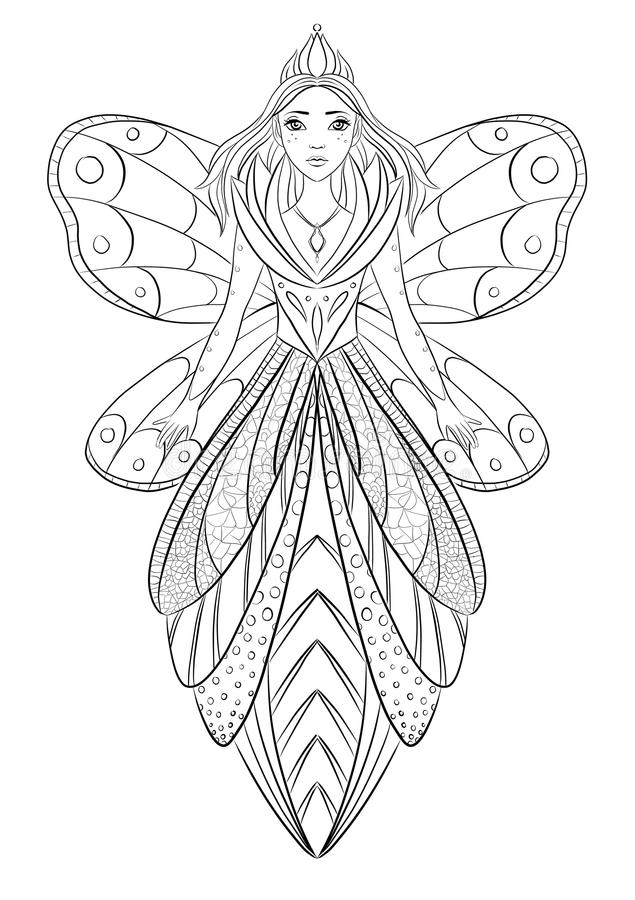 Art Therapy Coloring Page Illustration Of A Flower Fairy Queen Stock ...