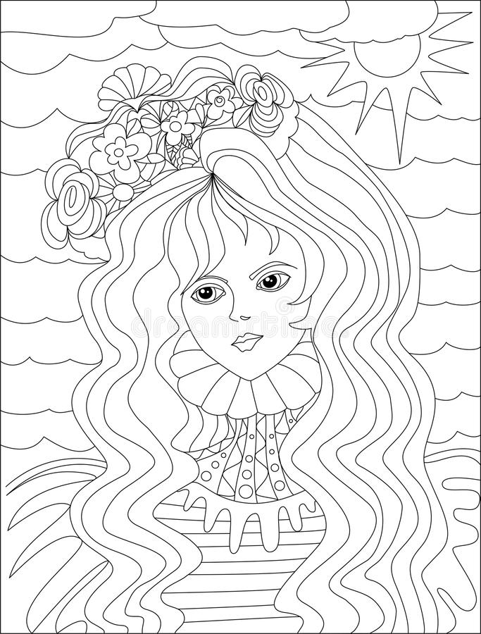 Art Therapy With Coloring Water Girl Stock Illustration ...