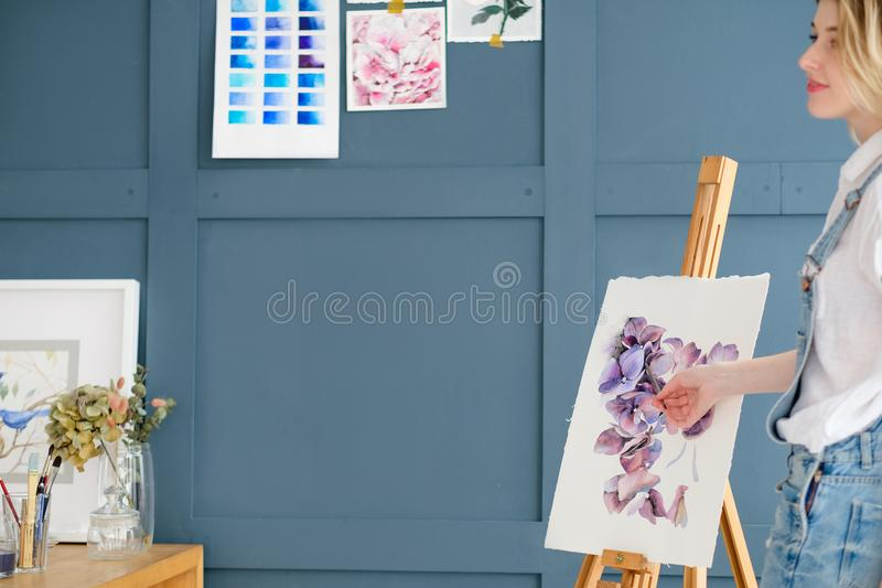 Art therapy painting class watercolor drawing. Art therapy. painting classes or courses. creativity inspiration expression concept. watercolor inks palette and royalty free stock images