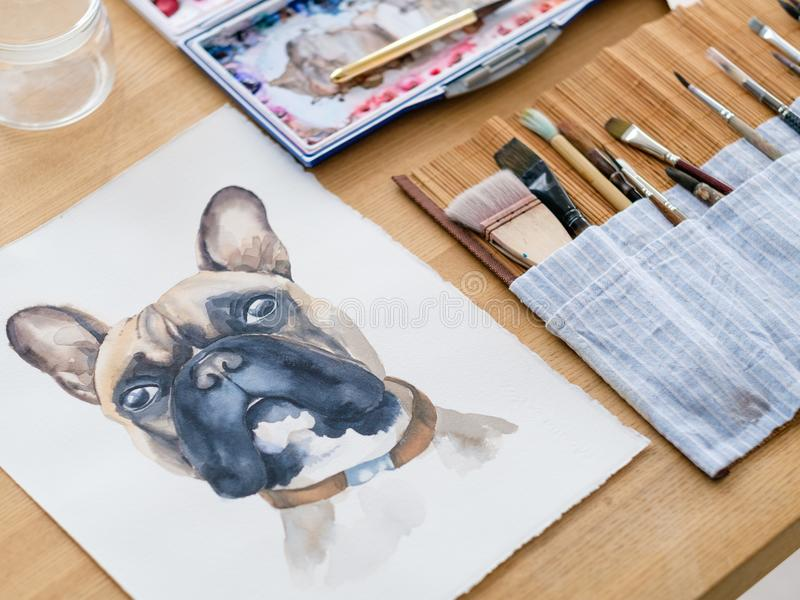 Art therapy painting class watercolor picture dog. Art therapy. painting classes or courses. creativity inspiration expression concept. watercolor picture of a royalty free stock photos