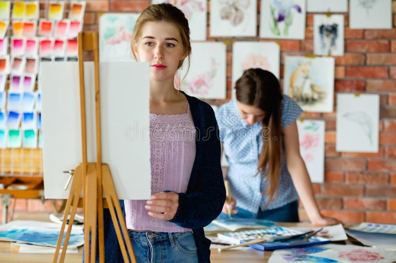 Art therapy class creativity expression girl draw. Art therapy. painting classes or courses. creativity inspiration expression concept. young girl drawing stock photo
