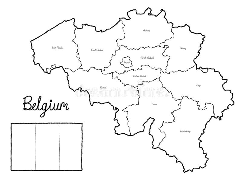 Art tiré par la main de bande dessinée d'illustration de vecteur de drapeau de carte de pays de la Belgique illustration libre de droits