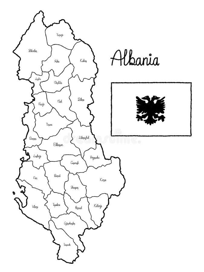 Art tiré par la main de bande dessinée d'illustration de vecteur de drapeau de carte de pays de l'Albanie illustration de vecteur
