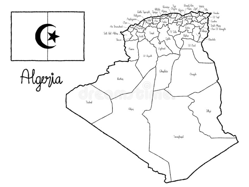 Art tiré par la main de bande dessinée d'illustration de vecteur de drapeau de carte de pays de l'Algérie illustration stock