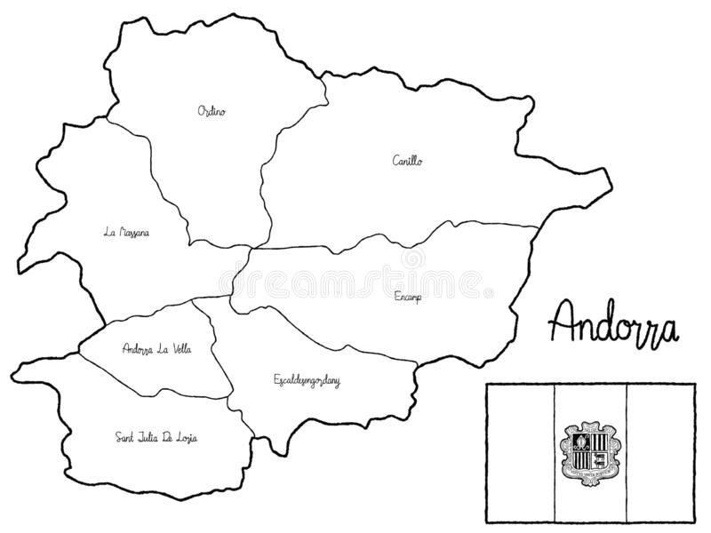Art tiré par la main de bande dessinée d'illustration de vecteur de drapeau de carte de pays de l'Andorre illustration libre de droits