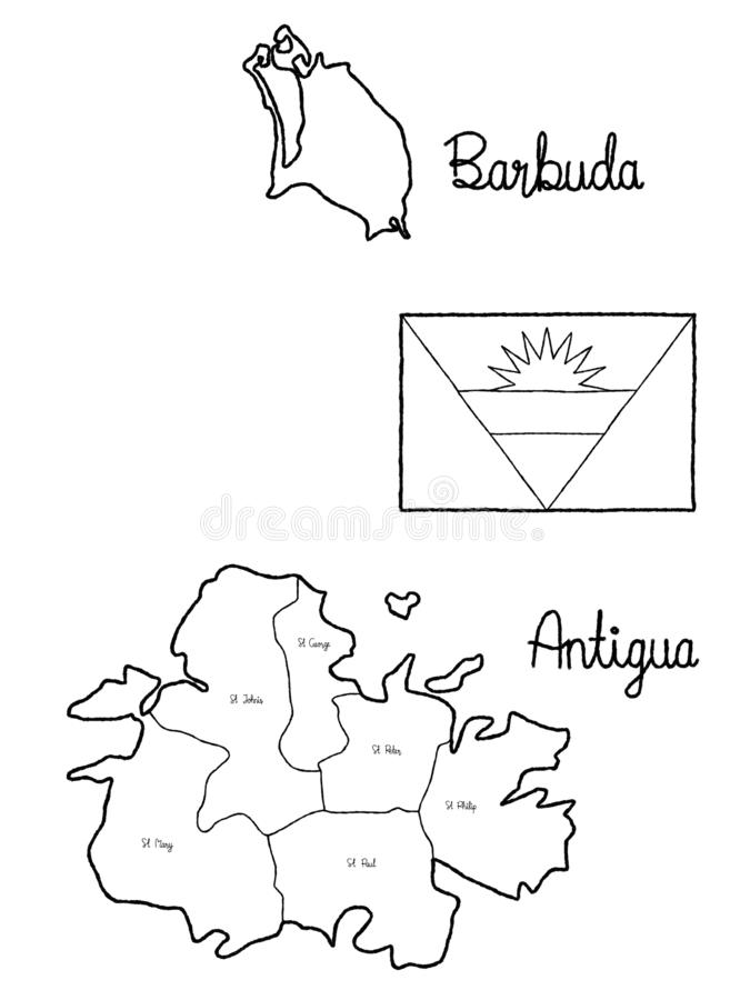 Art tiré par la main de bande dessinée d'illustration de vecteur de drapeau de carte de pays de l'Antigua-et-Barbuda illustration stock