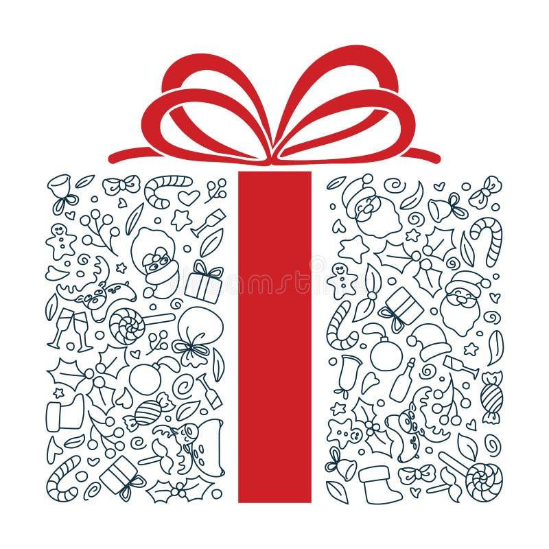 Art tiré par la main de griffonnage de forme de cadeau Course Editable illustration stock