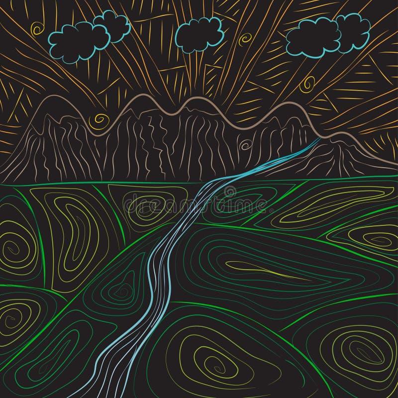 Art tiré par la main de paysage de griffonnage de Zentangle Montagnes, rivière, fermes, ciel illustration libre de droits