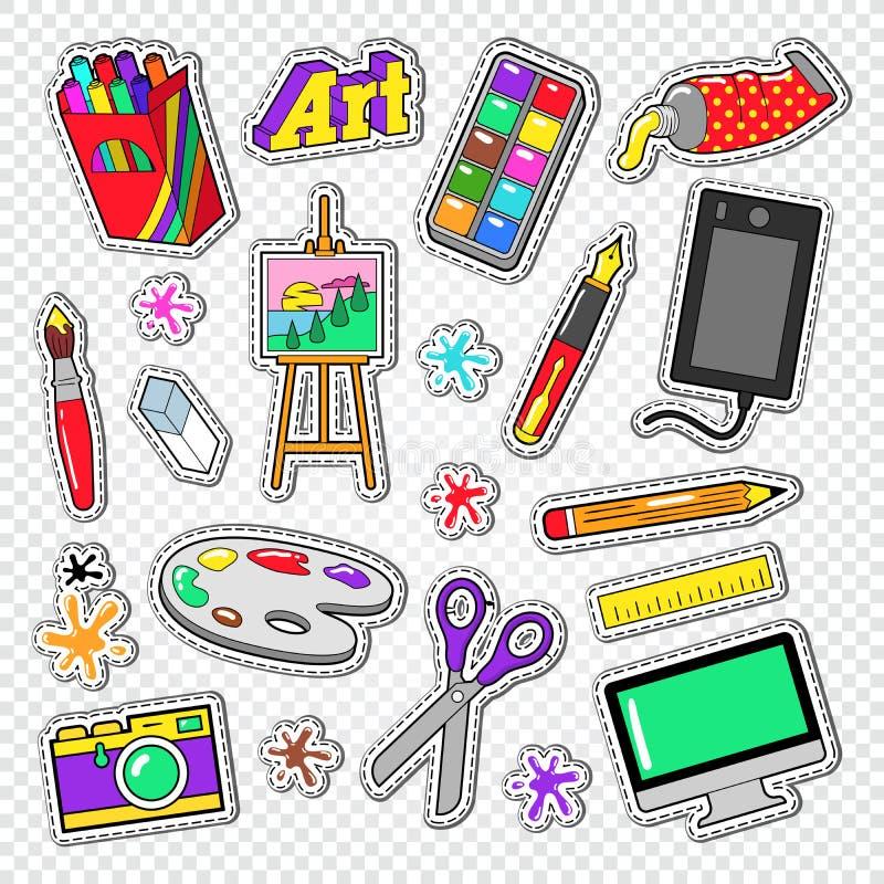 Art Tools Doodle Etiquetas da pintura com pinturas, dispositivo gráfico de Digitas e câmera da foto ilustração stock