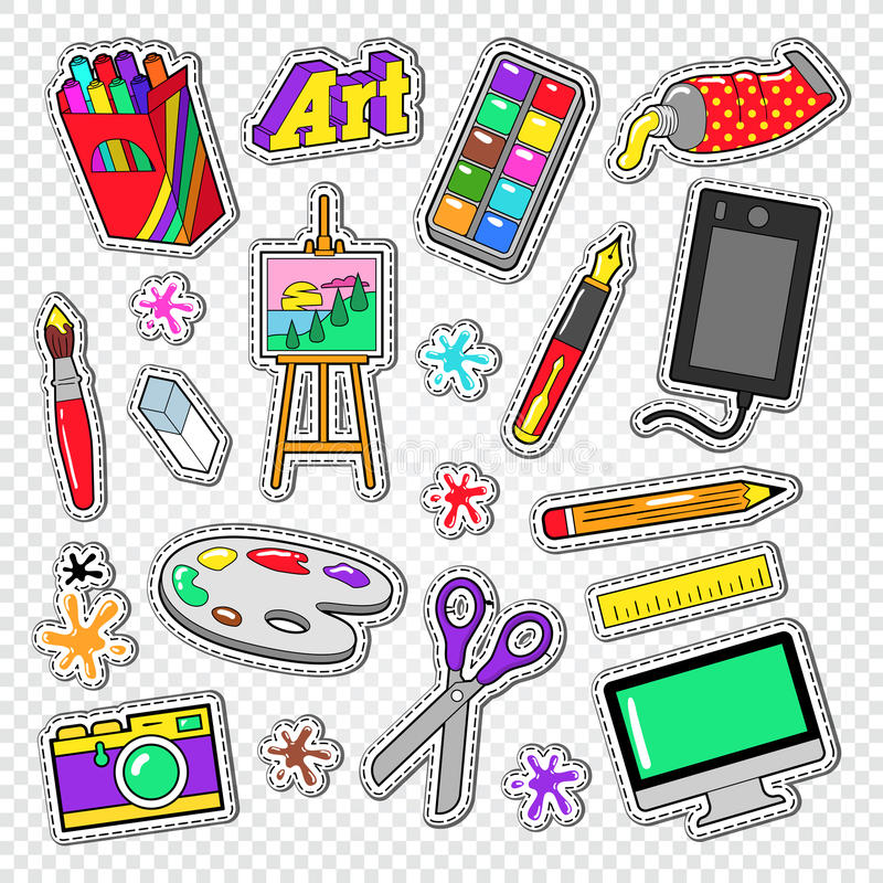 Art Tools Doodle. Painting Stickers with Paints, Digital Graphic Device and Photo Camera stock illustration