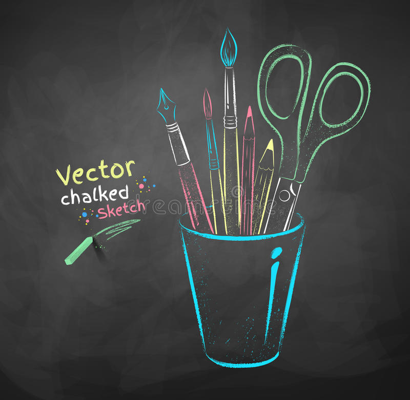 Art tools in holder. Vector color chalk drawing of art tools in holder royalty free illustration