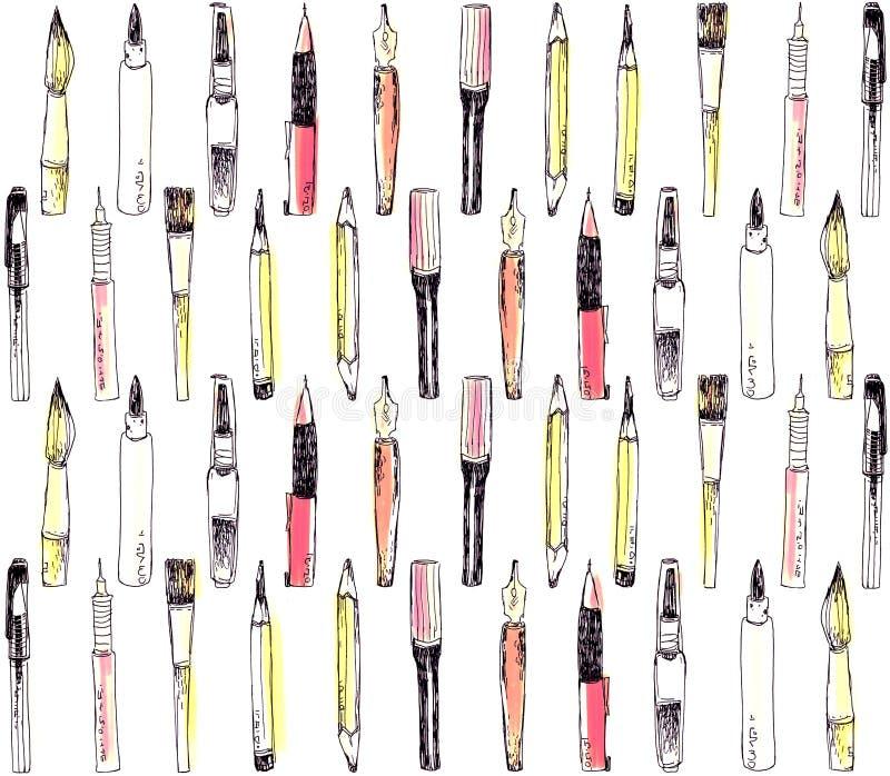 Art tools pattern royalty free stock photos