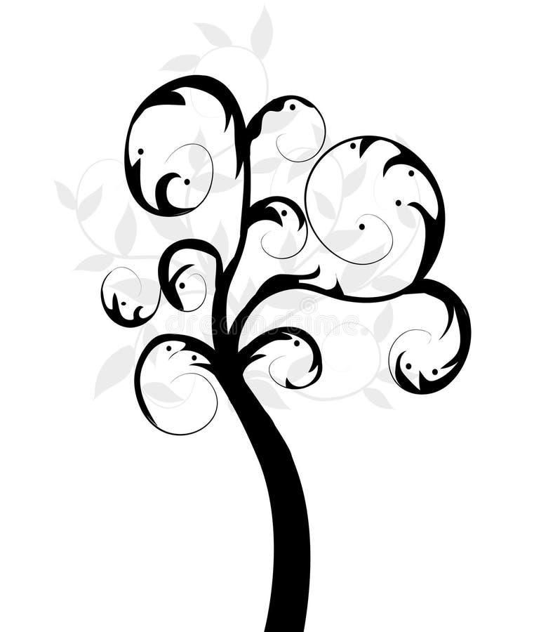 Art tree beautiful. On white stock illustration