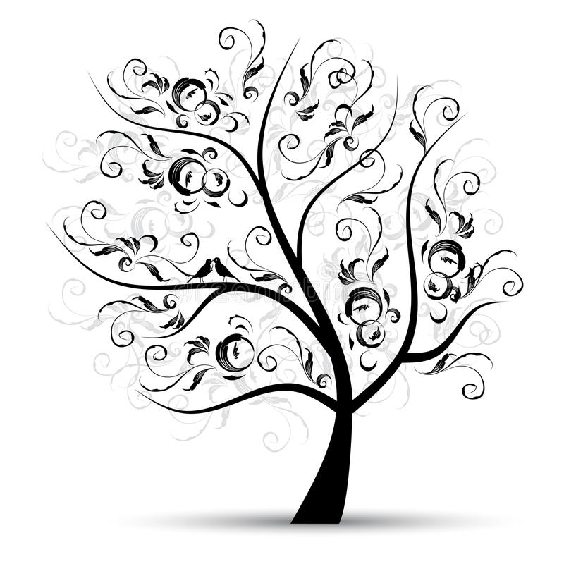 Free Art Tree Beautiful, Black Silhouette Stock Photo - 15065050