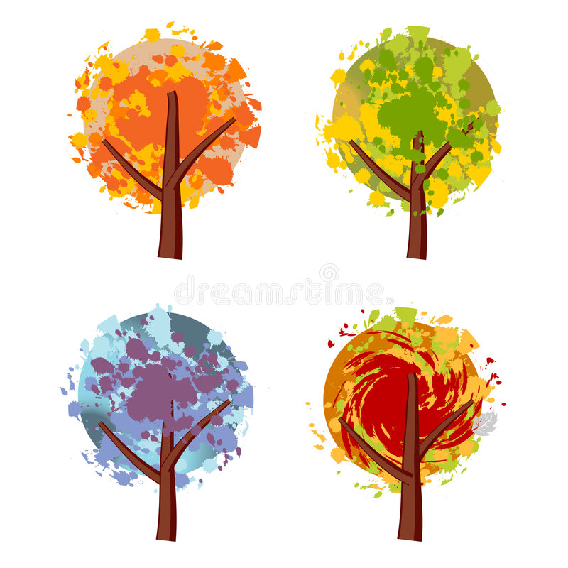 Art tree beautiful, grunge royalty free illustration